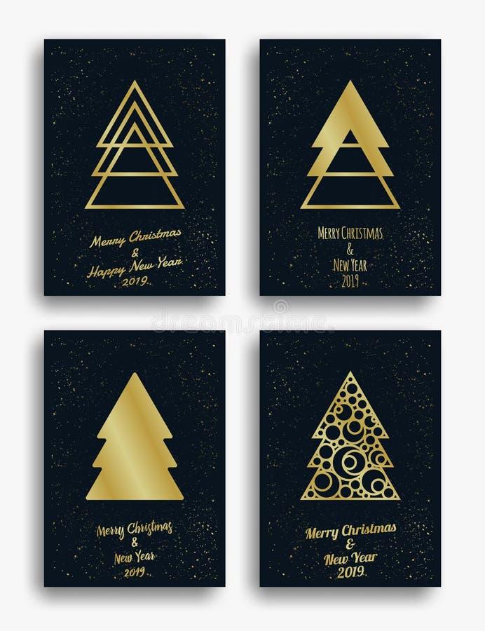 Diseño de tarjeta de la invitación del Año Nuevo y de la Navidad con el árbol de navidad y las decoraciones Conjunto de la ilustr fotografía de archivo libre de regalías
