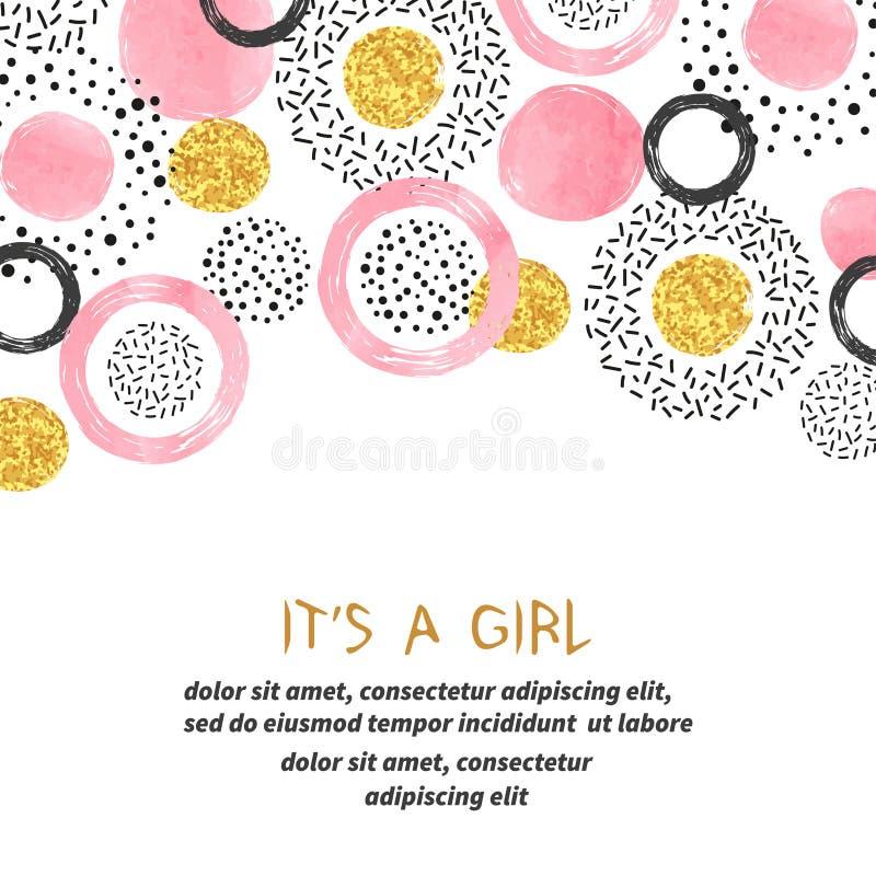 Diseño de tarjeta de la muchacha de la fiesta de bienvenida al bebé con los círculos de oro rosados abstractos ilustración del vector