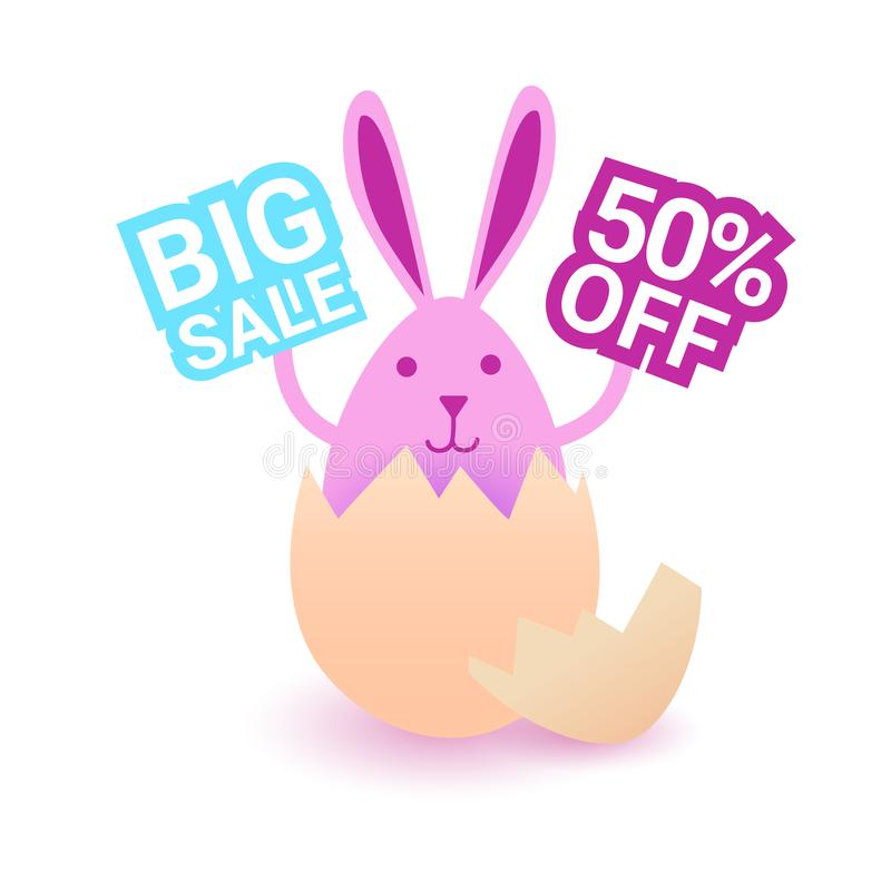 Diseño de tarjeta de la oferta especial del día de fiesta de las compras de Pascua Bunny Hold Big Easter Sign stock de ilustración