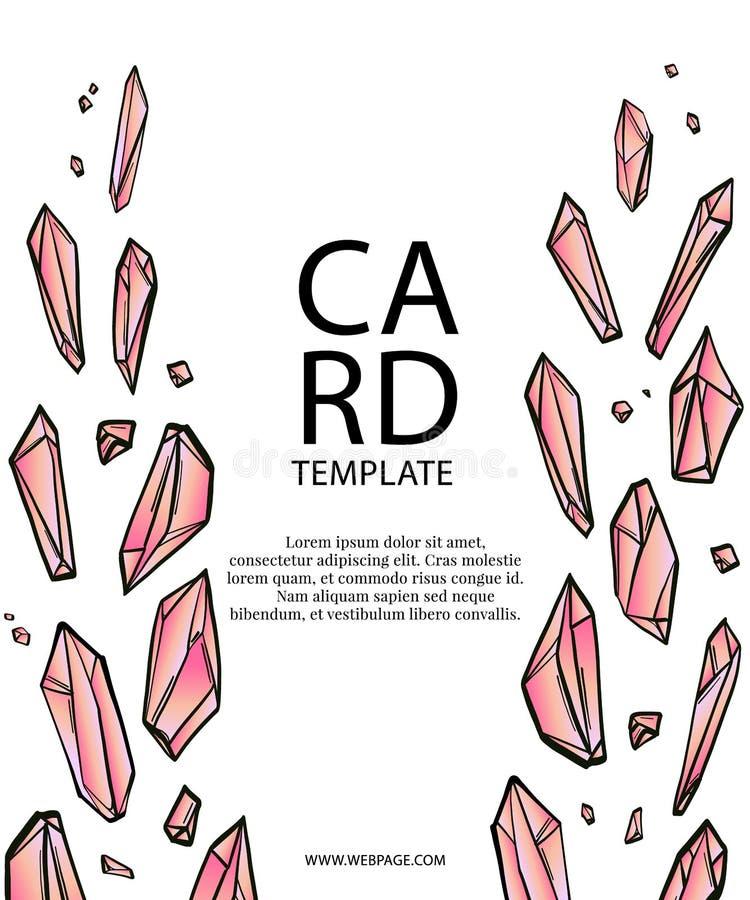 Diseño de tarjeta de los diamantes del vector Cristales o plantilla de la tarjeta de la invitación de la boda de diamantes Gráfic stock de ilustración