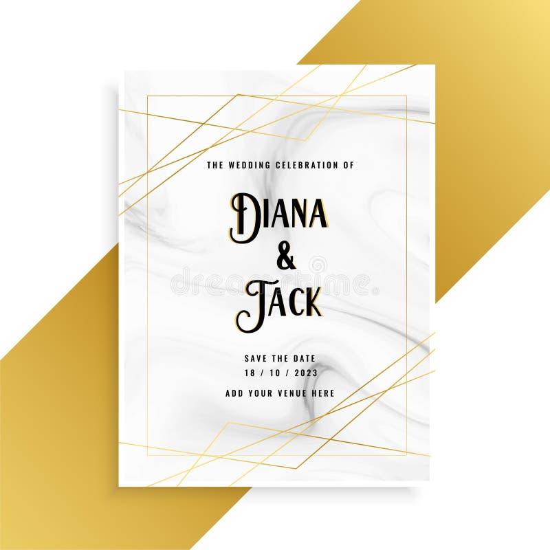 Diseño de tarjeta de lujo de la invitación de la boda con la textura de mármol libre illustration