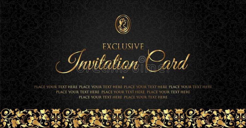 Diseño de tarjeta de lujo de la invitación del negro y del oro - estilo del vintage ilustración del vector