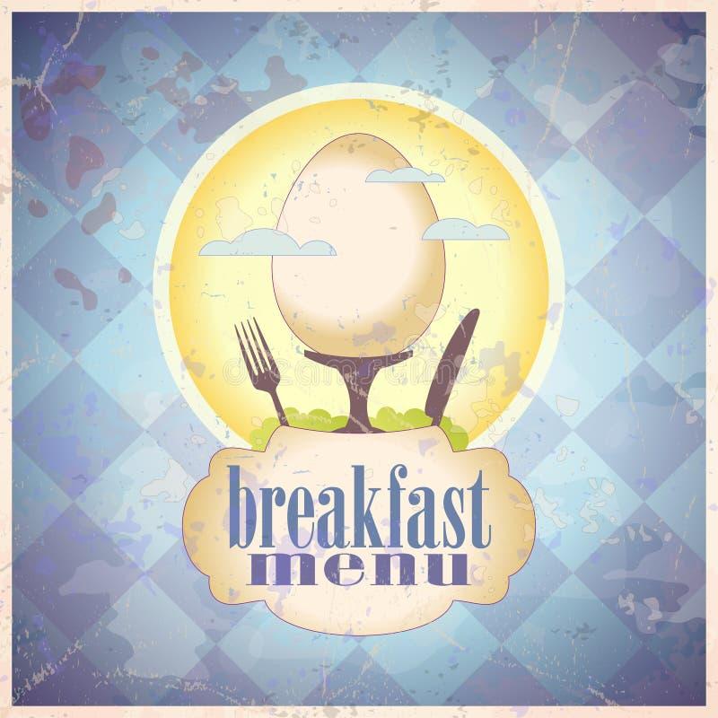 Diseño de tarjeta retro del menú del desayuno. ilustración del vector
