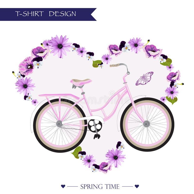 Diseño de tarjeta romántico floral de la camiseta stock de ilustración