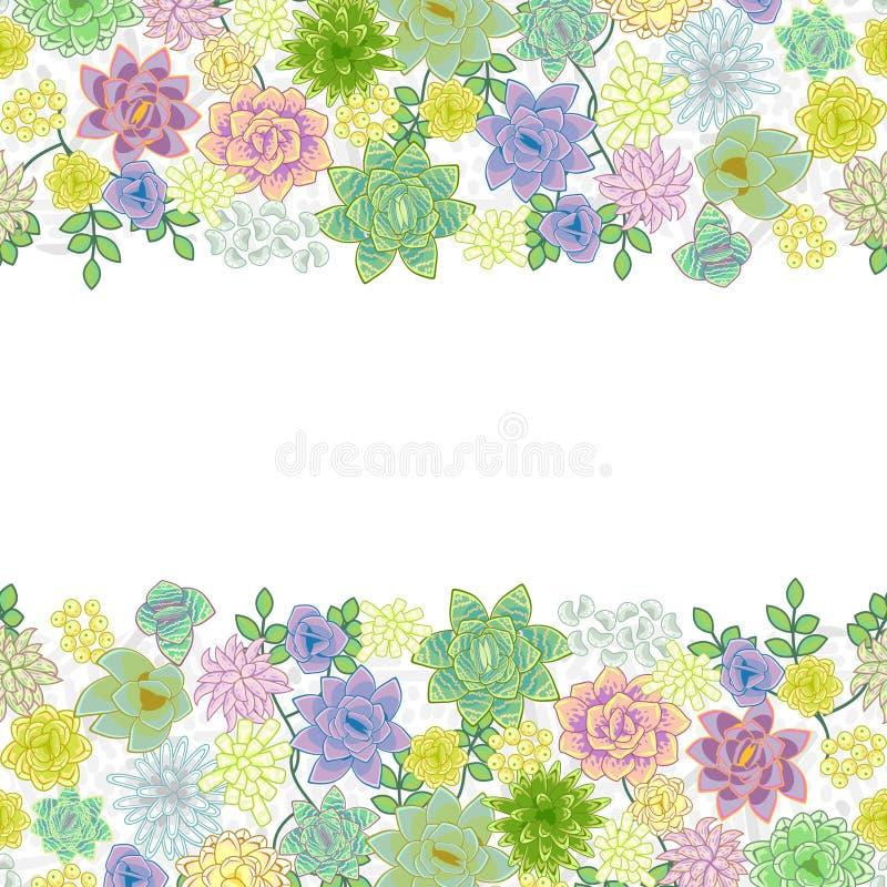 Diseño de tarjeta suculento de la frontera del jardín stock de ilustración