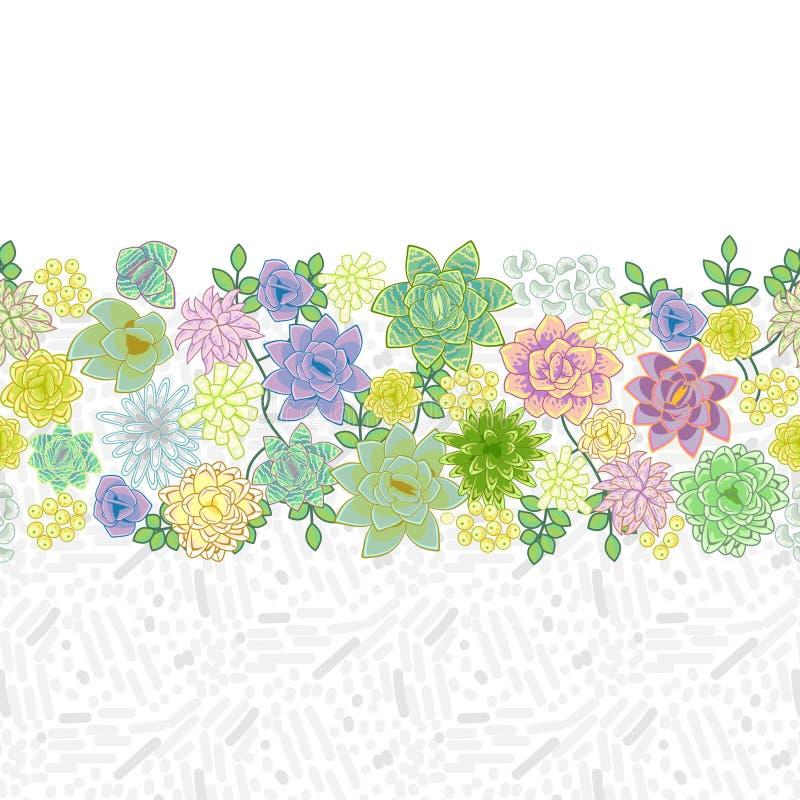 Diseño de tarjeta suculento de la frontera del jardín libre illustration