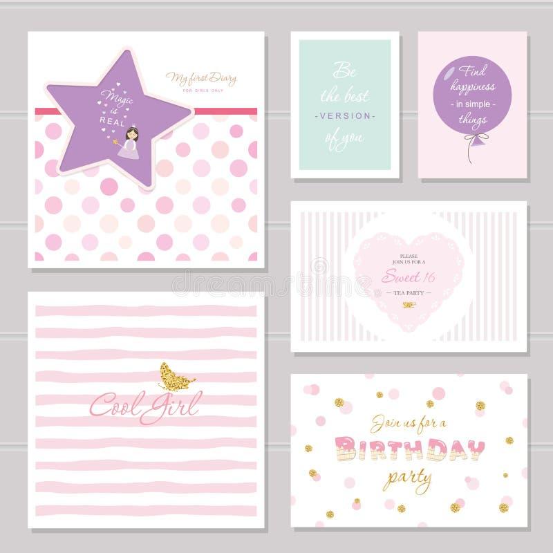 Diseño de tarjetas lindo con el brillo para los adolescentes Citas inspiradas, cumpleaños, invitación del partido del dulce 16 in libre illustration