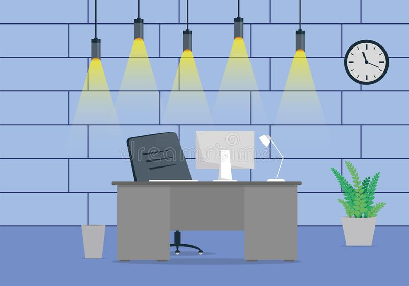 Diseño de un diseño de lugar de trabajo moderno de la oficina con un reloj en la pared foto de archivo libre de regalías