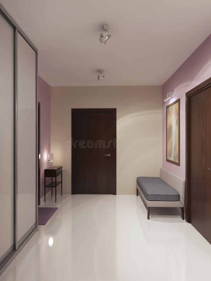 Diseño de vestíbulo minimalista espacioso ilustración del vector