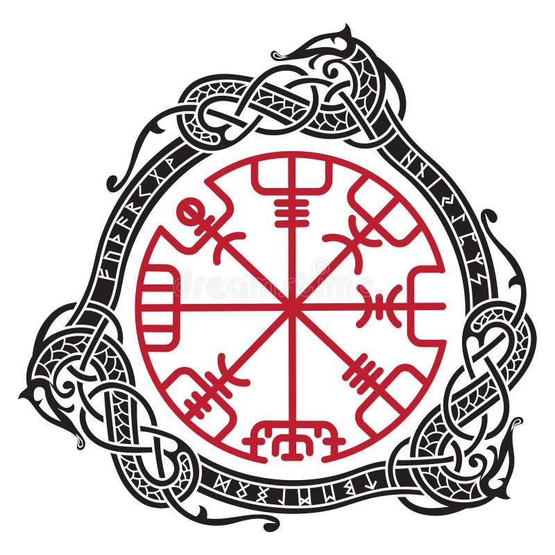 Diseño de Viking Compás rúnico mágico Vegvisir, en el círculo de runas nórdicas y de dragones ilustración del vector