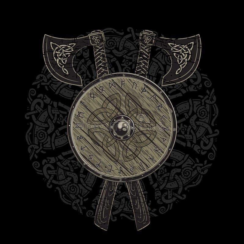 Diseño de Viking, hachas cruzadas de la batalla de vikingo y escudo de Viking con las runas escandinavas libre illustration