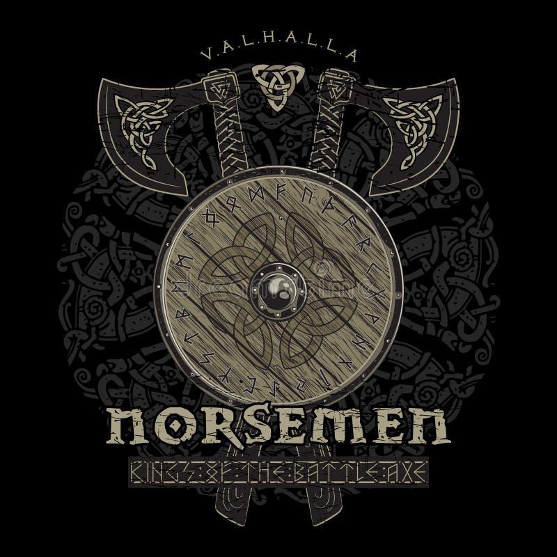 Diseño de Viking, hachas cruzadas de la batalla de vikingo y escudo de Viking con las runas nórdicas libre illustration