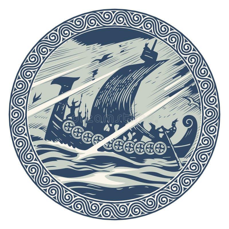 Diseño de Viking Navegación de Drakkar en un mar tempestuoso En el marco del modelo escandinavo stock de ilustración