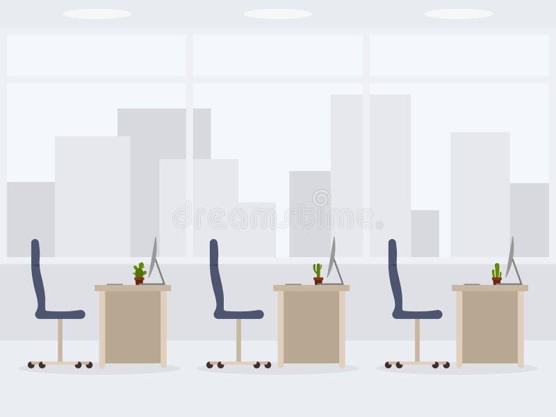 Diseño de vista lateral de la oficina vacía moderna Ejemplo del vector del lugar de trabajo ilustración del vector