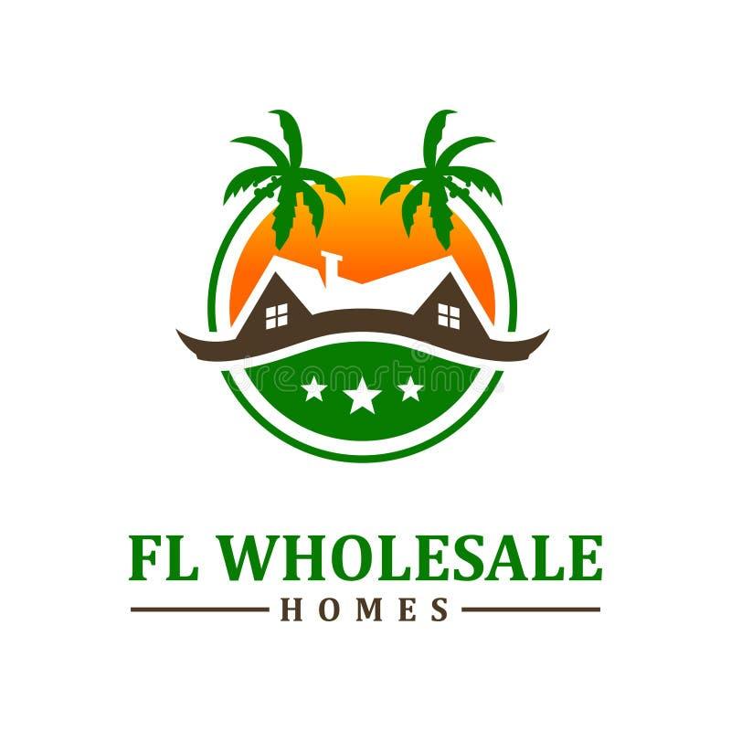 Diseño de vivienda del logotipo de la playa stock de ilustración