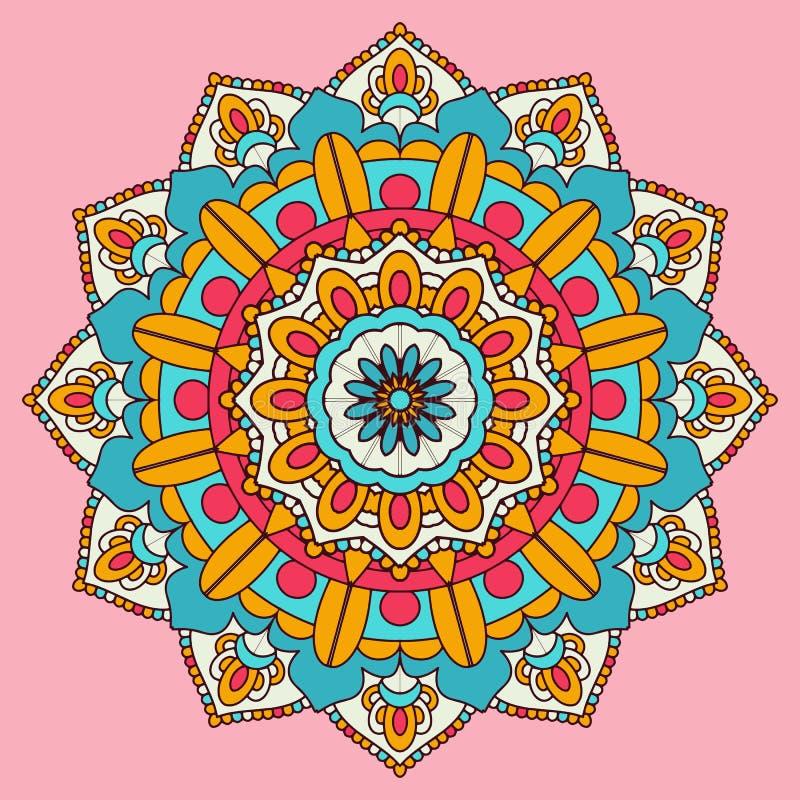 Diseño decorativo colorido del fondo de la mandala stock de ilustración