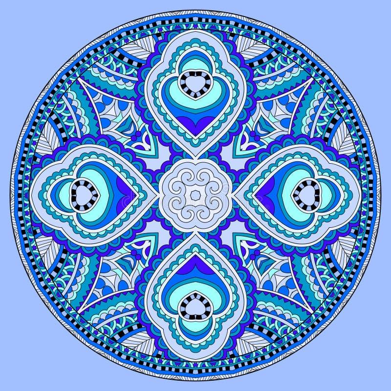 Diseño decorativo de plantilla floral de Paisley del plato azul del círculo libre illustration