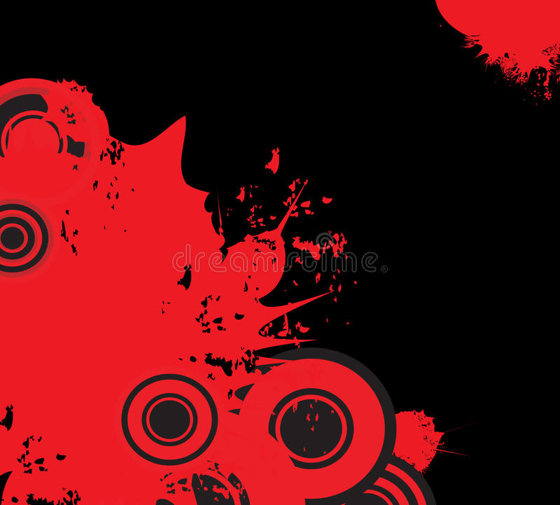 Diseño decorativo del grunge rojo y negro stock de ilustración