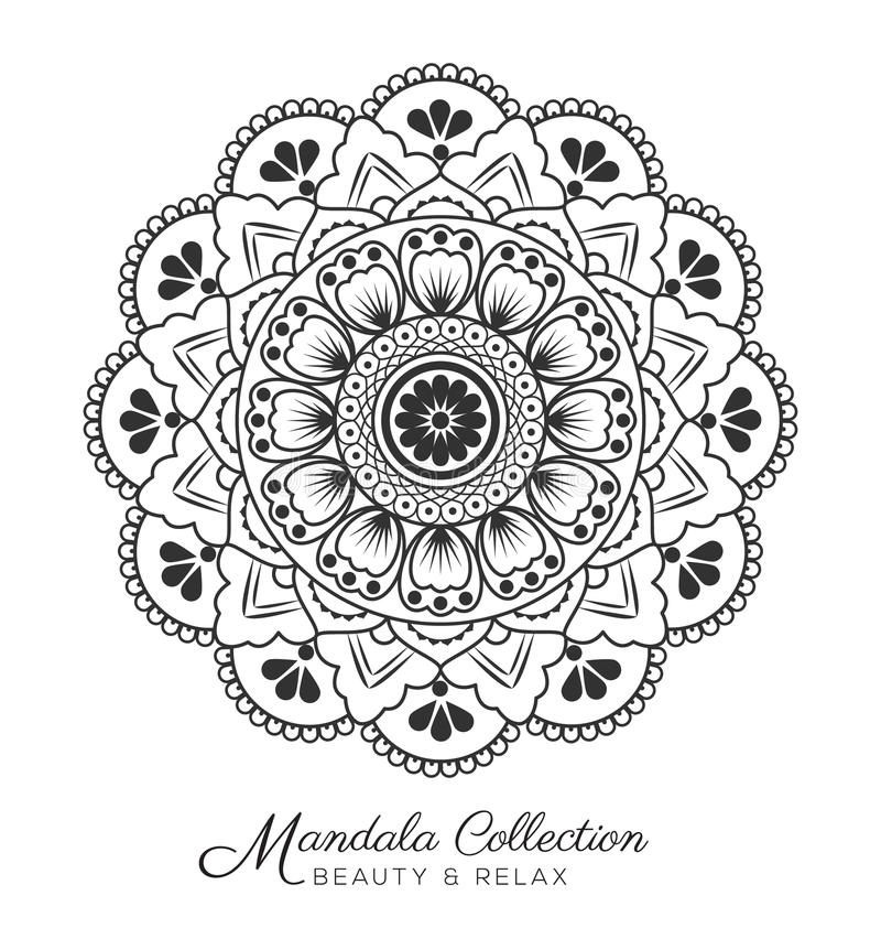 Diseño decorativo del ornamento de la mandala stock de ilustración