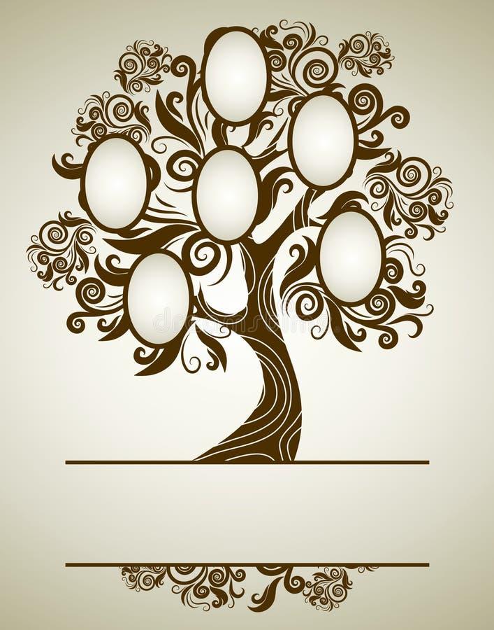 Diseño del árbol de familia del vector con los marcos ilustración del vector
