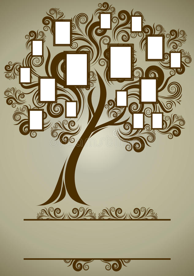 Diseño del árbol de familia del vector con los marcos libre illustration