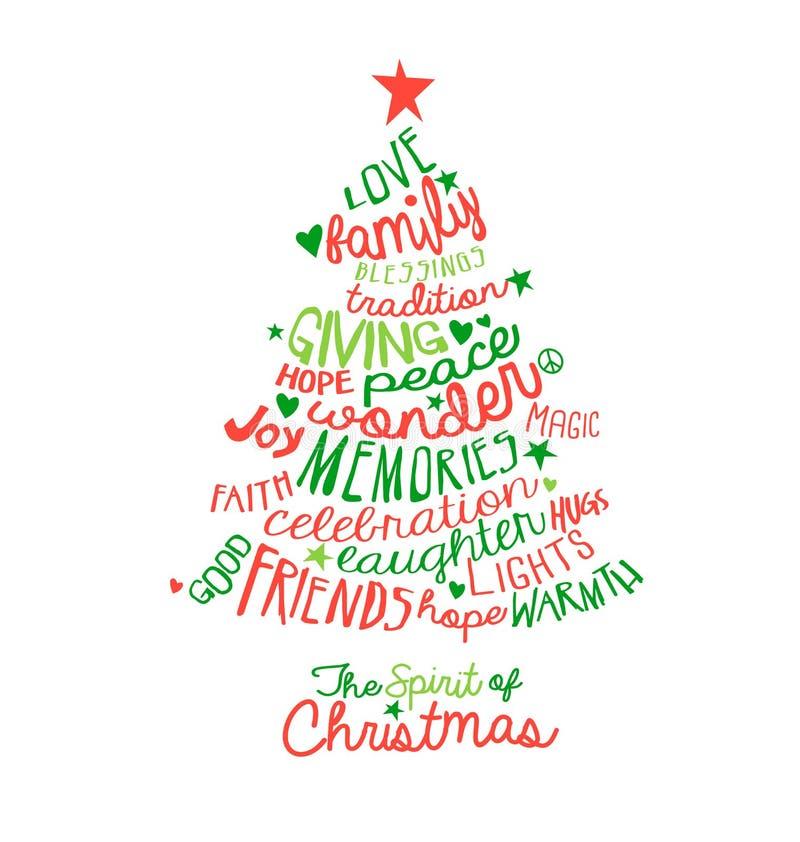 Diseño del árbol de la nube de la palabra de la tarjeta de Navidad stock de ilustración