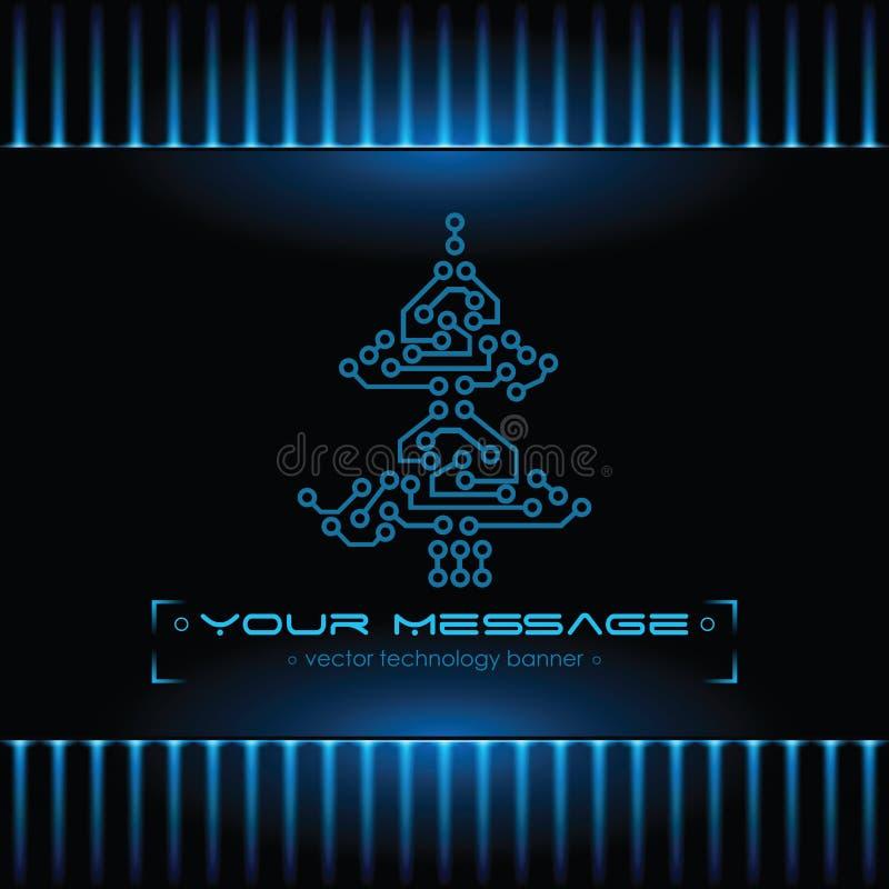 Diseño del árbol de navidad. Fondo de la tecnología. stock de ilustración