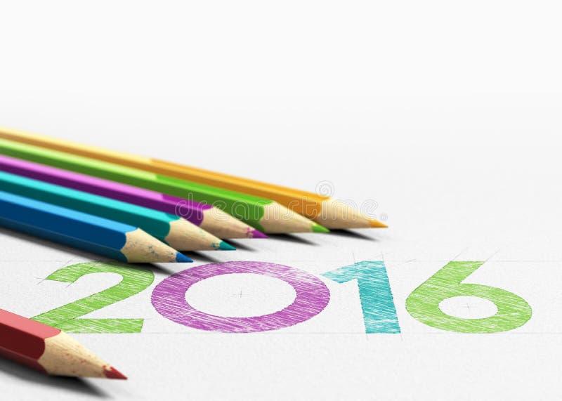 Diseño del año 2016 stock de ilustración