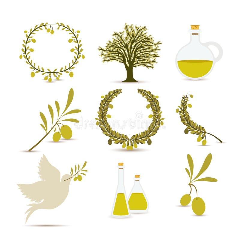 Diseño del aceite de oliva ilustración del vector