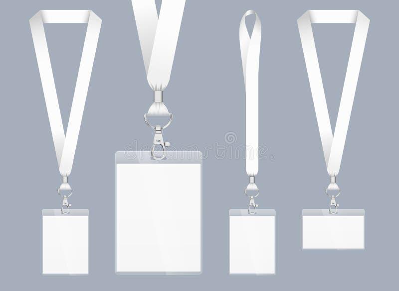 Diseño del acollador, ejemplo realista Carné de identidad con la cinta Cierre y tarjeta del metal con el plástico Acreditación pa libre illustration