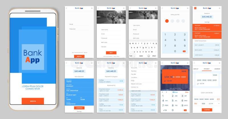 Diseño del app móvil UI, UX Un sistema de las pantallas del GUI para las actividades bancarias móviles stock de ilustración