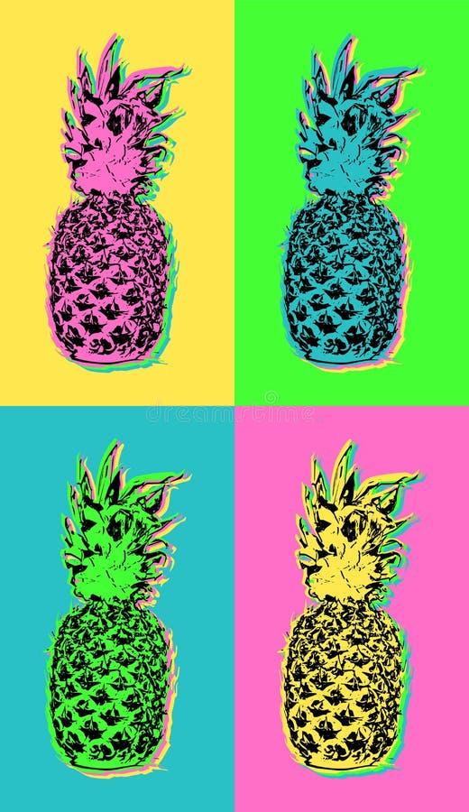 Diseño del arte pop con la piña colorida del verano stock de ilustración