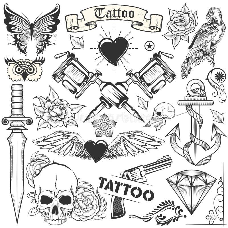 Diseño Del Arte Del Tatuaje De Colección Del Cráneo, Del Caballo Y ...