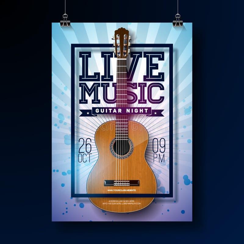 Diseño del aviador de la música en directo con la guitarra acústica en fondo del grunge Ilustración del vector ilustración del vector