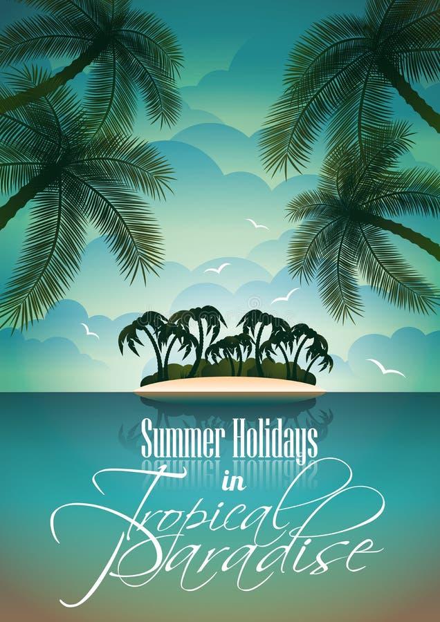 Diseño del aviador de las vacaciones de verano del vector con las palmeras. ilustración del vector