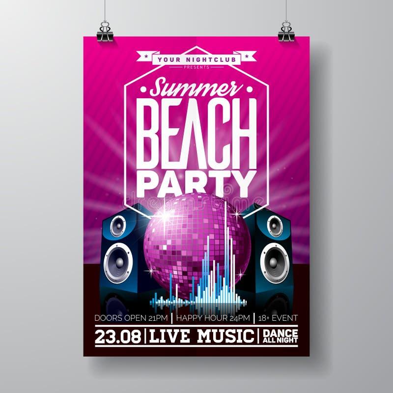 Diseño del aviador del partido del vector con los elementos de la música en el fondo violeta Presidentes y bola de discoteca stock de ilustración