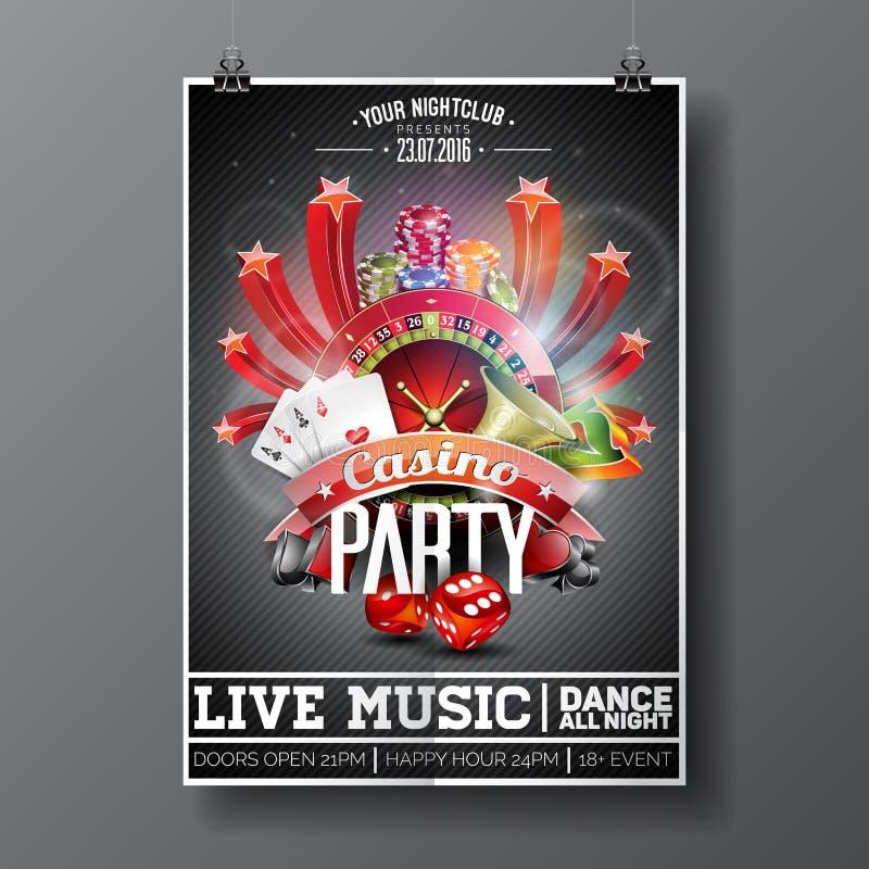 Diseño del aviador del partido del vector en un tema del casino con la rueda de ruleta y las tarjetas de juego en fondo oscuro libre illustration