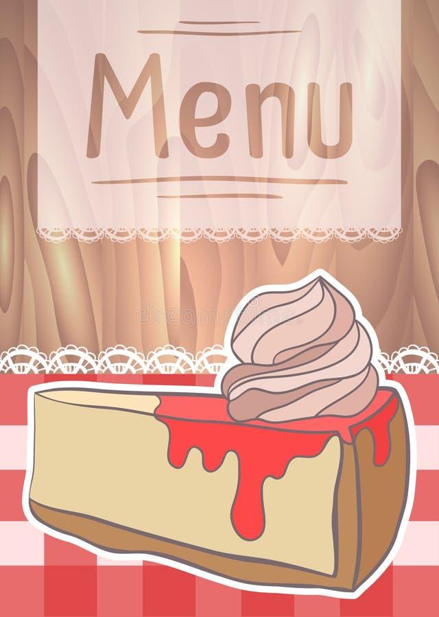 Diseño del aviador, menú del café con el pastel de queso del dibujo libre illustration