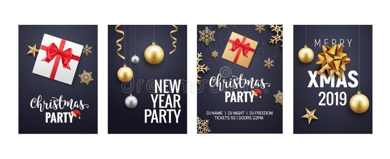 Diseño del aviador o del folleto del fondo de la tarjeta de felicitación de la Navidad del Año Nuevo Decoración del oro de la ban ilustración del vector