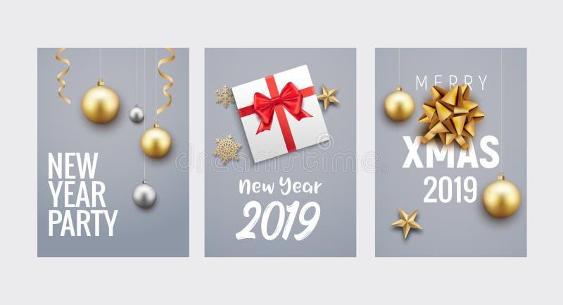 Diseño del aviador o del folleto del fondo de la tarjeta de felicitación de la Navidad del Año Nuevo Decoración del oro de la ban stock de ilustración
