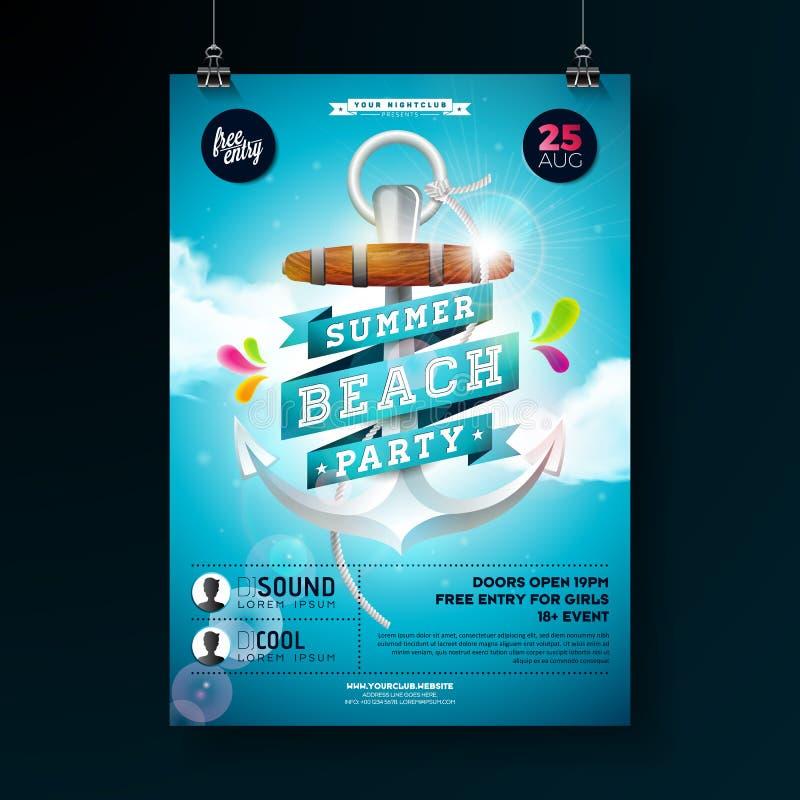 Diseño del aviador del partido de la playa del verano del vector con el ancla y la cinta en fondo azul de cielo nublado Plantilla stock de ilustración