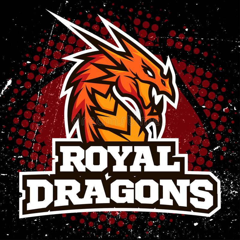Diseño del baloncesto del logotipo del deporte del dragón libre illustration