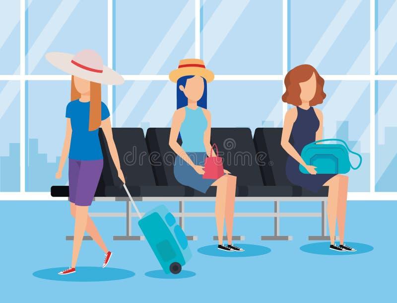 Diseño del banco del terminal de aeropuerto stock de ilustración