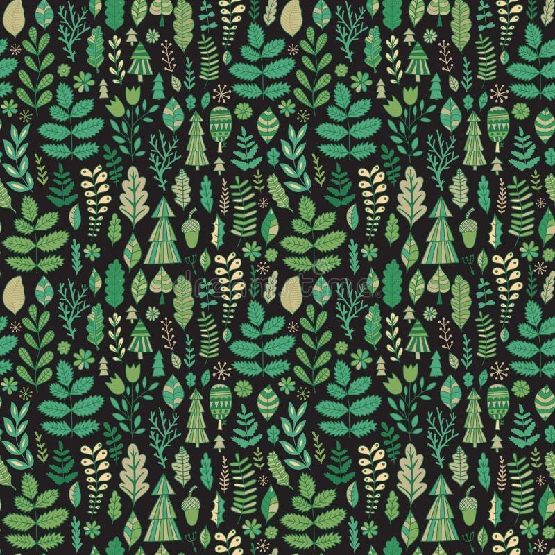 Diseño del bosque del vector, modelo inconsútil floral, fondo de la hoja Ornamento de las plantas libre illustration