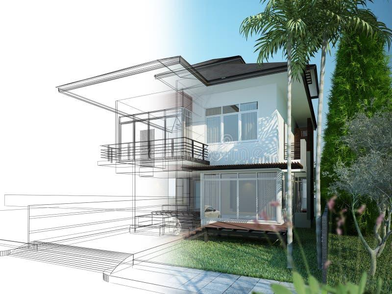 Diseño del bosquejo de casa ilustración del vector
