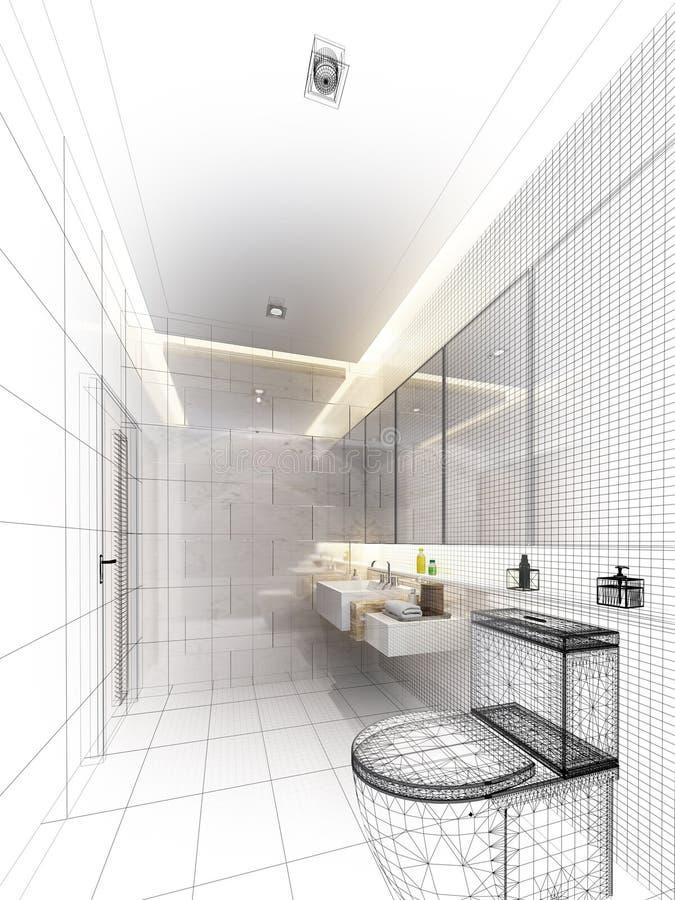 Diseño del bosquejo de cuarto de baño interior stock de ilustración