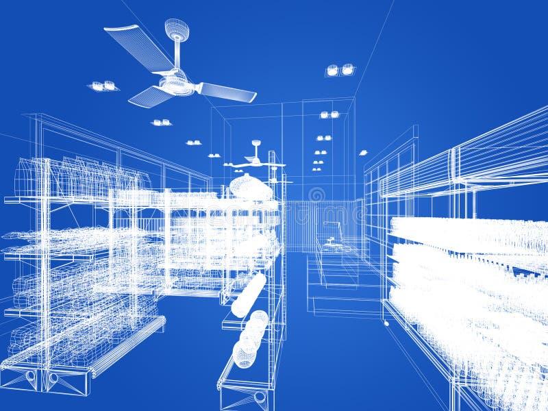 Diseño del bosquejo de supermercado foto de archivo libre de regalías