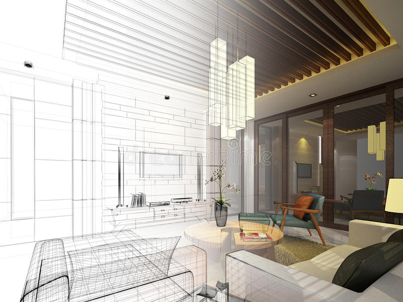 Diseño del bosquejo de vida interior ilustración del vector