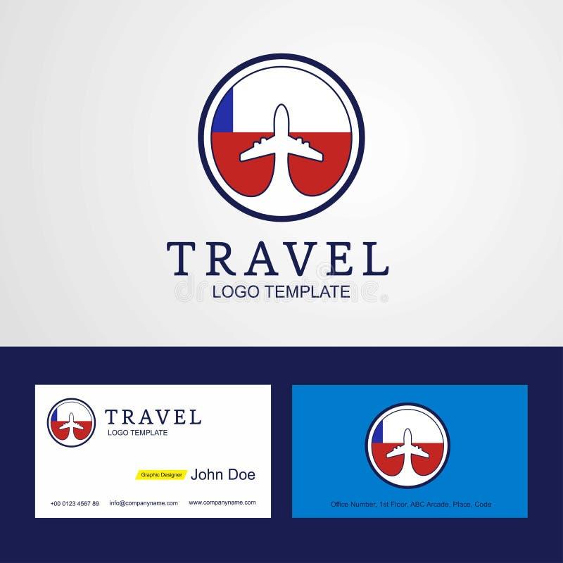 Diseño del círculo de Chile del viaje de la bandera de la tarjeta creativa del logotipo y de visita stock de ilustración