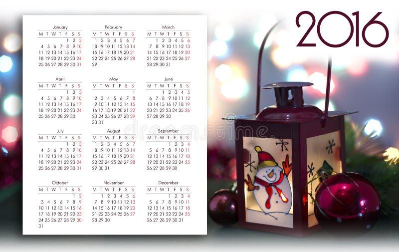 Diseño del calendario 2016 fotografía de archivo